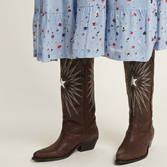 Shoespie Embroidery Pointed Toe Knee High Boots