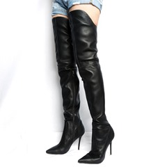 Shoespie Black Plain Sexy Stiletto Heel Thigh High Boots