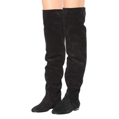 Shoespie Black Suede Slip-On Thigh High Boots