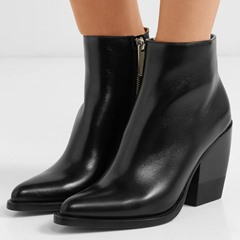 Shoespie Black Classic Pointed Toe Chunky Heel Ankle Boots