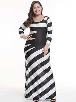 edd8ec1b75b Color Block Stripe Patchwork Women s Maxi Dress