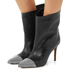 Shoespie Black Rhinestone Stiletto Heel Ankle Boots