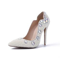 Shoespie Rhinestone Bead White Stiletto Heel Wedding Shoes