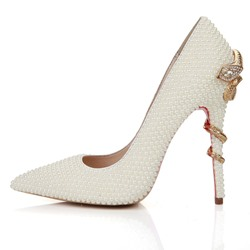 Shoespie White Rhinestone Bead Stiletto Heel Wedding Shoes