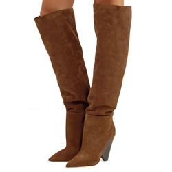 Shoespie Brown Suede Pointed Toe Knee High Boots