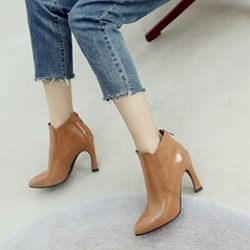Shoespie Plain Chunky Heel Fashion Ankle Boots