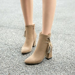Shoespie Fashion Plain Fringe Ankle Boots