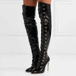 Shoespie Black Sequin Lace-Up Sexy Thigh High Boots