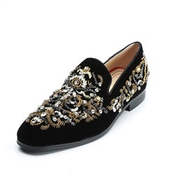 Shoespie Black Rhinestone Suede Men's Loafers