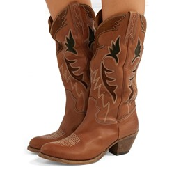 Shoespipe Brown Embroidery Slip-On Cowboy Knee High Boots
