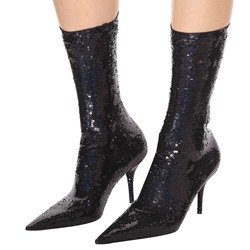 Shoespie Black Sequin Stiletto Ankle Boots