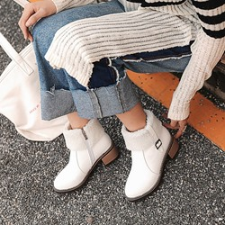 Shoespie Casual Buckle Plain Ankle Boots
