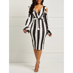 Shoespie Color Block Stripe Women's Bodycon Dress