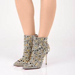Shoespie Rivet Luxury Stiletto Ankle Boots