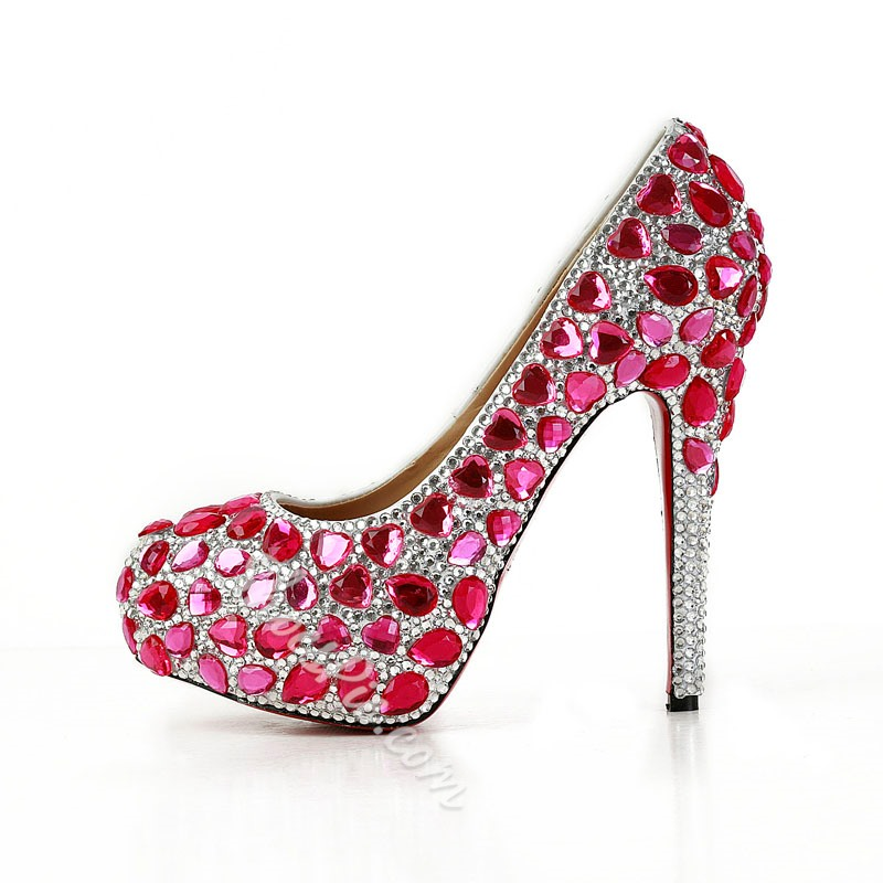 Shoespie Red Rhinestone Platform Stiletto Heels