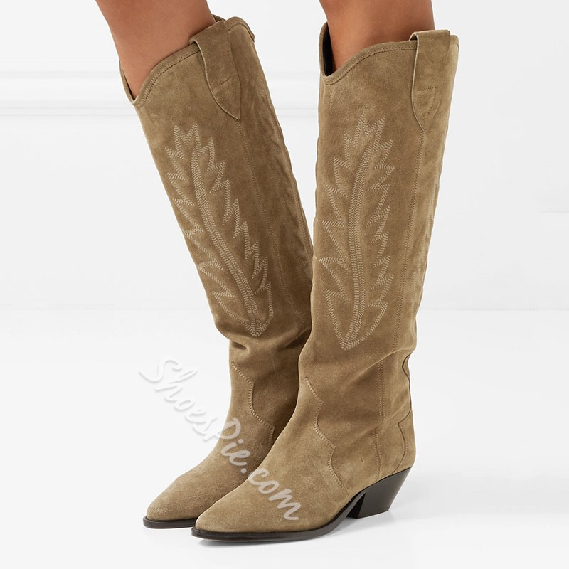 Shoespie Embroidery Suede Knee High Boots