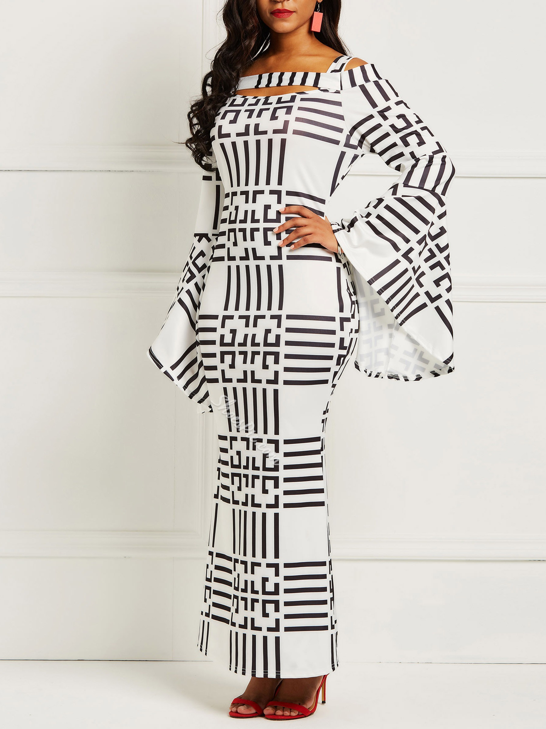 Shoespie Western Pullover Stripe Women's Maxi Dress