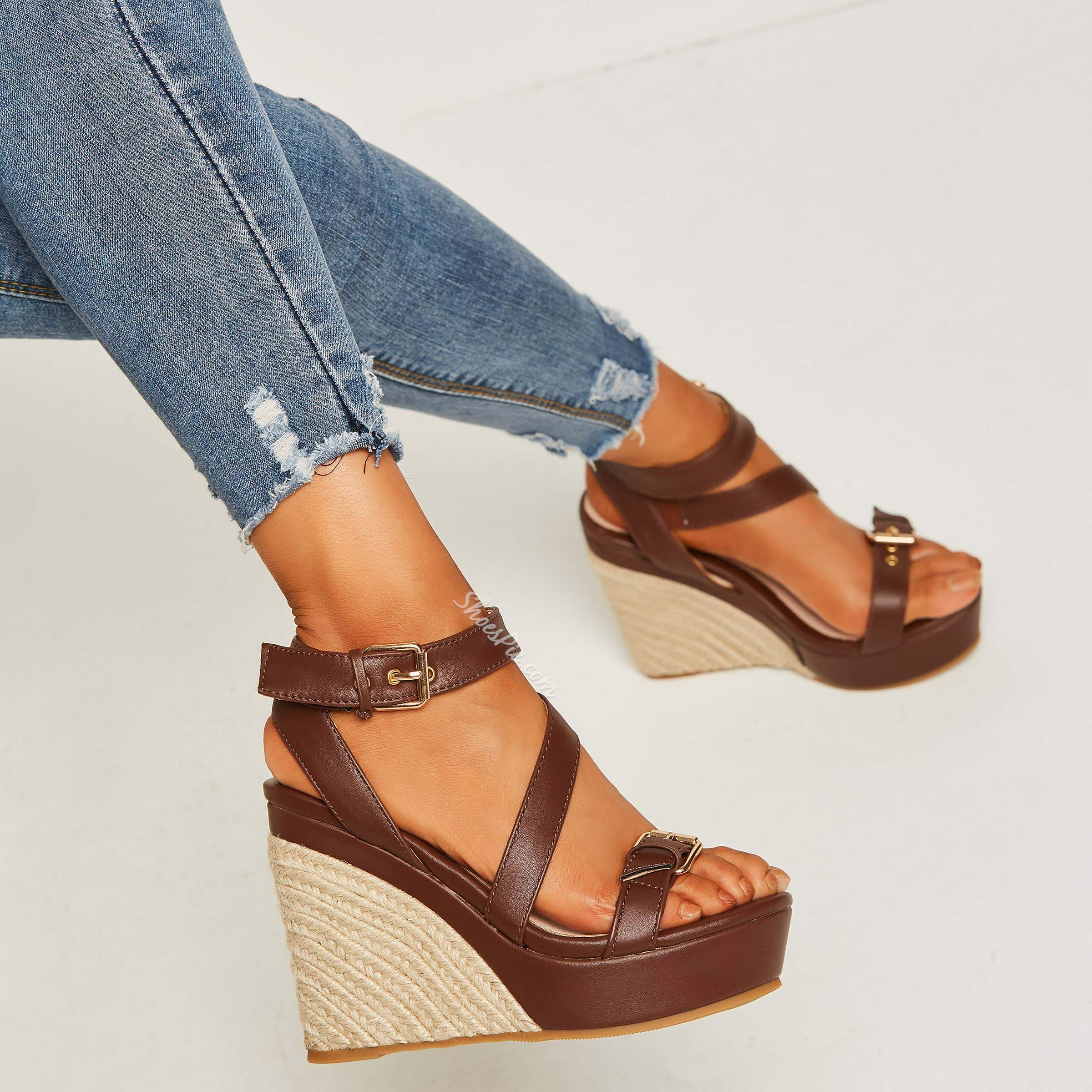 Shoespie Platform Hasp Open Toe Wedge Sandals
