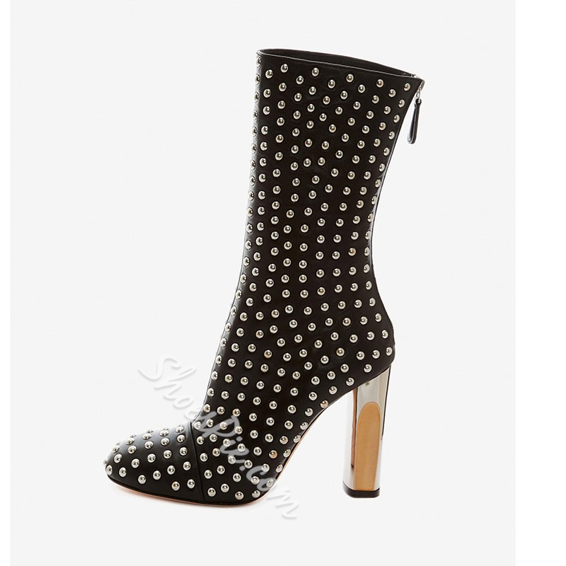 Shoespie Black Rivet Super Cool Ankle Boots