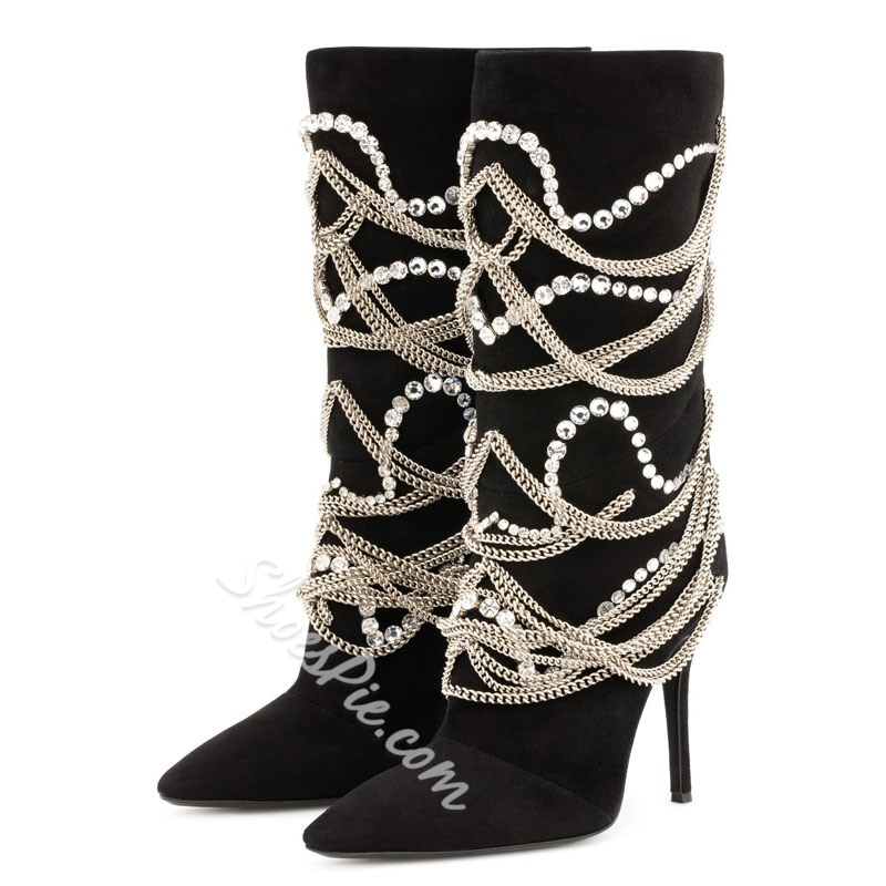Shoespie Black Rhinestone Chain Suede Knee High Boots
