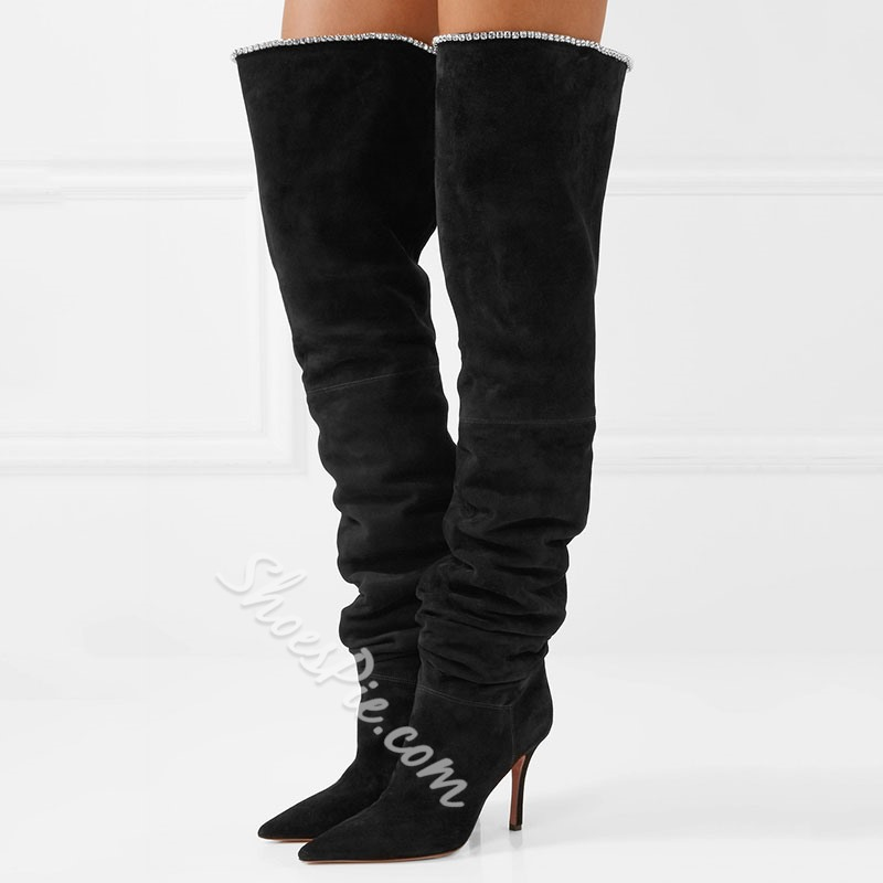 Shoespie Black Sexy Suede Pointed Toe Thigh High Boots