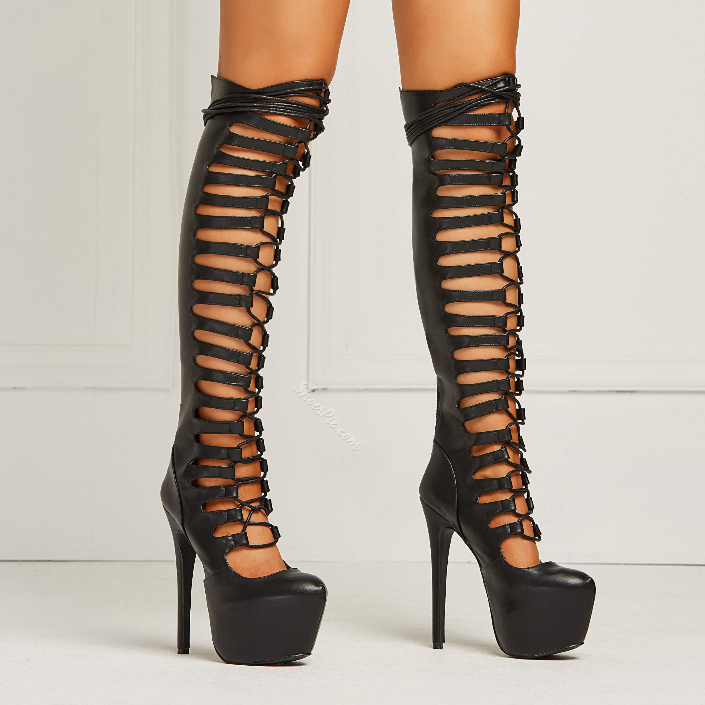 Sexy Cut-outs Knee High Boots