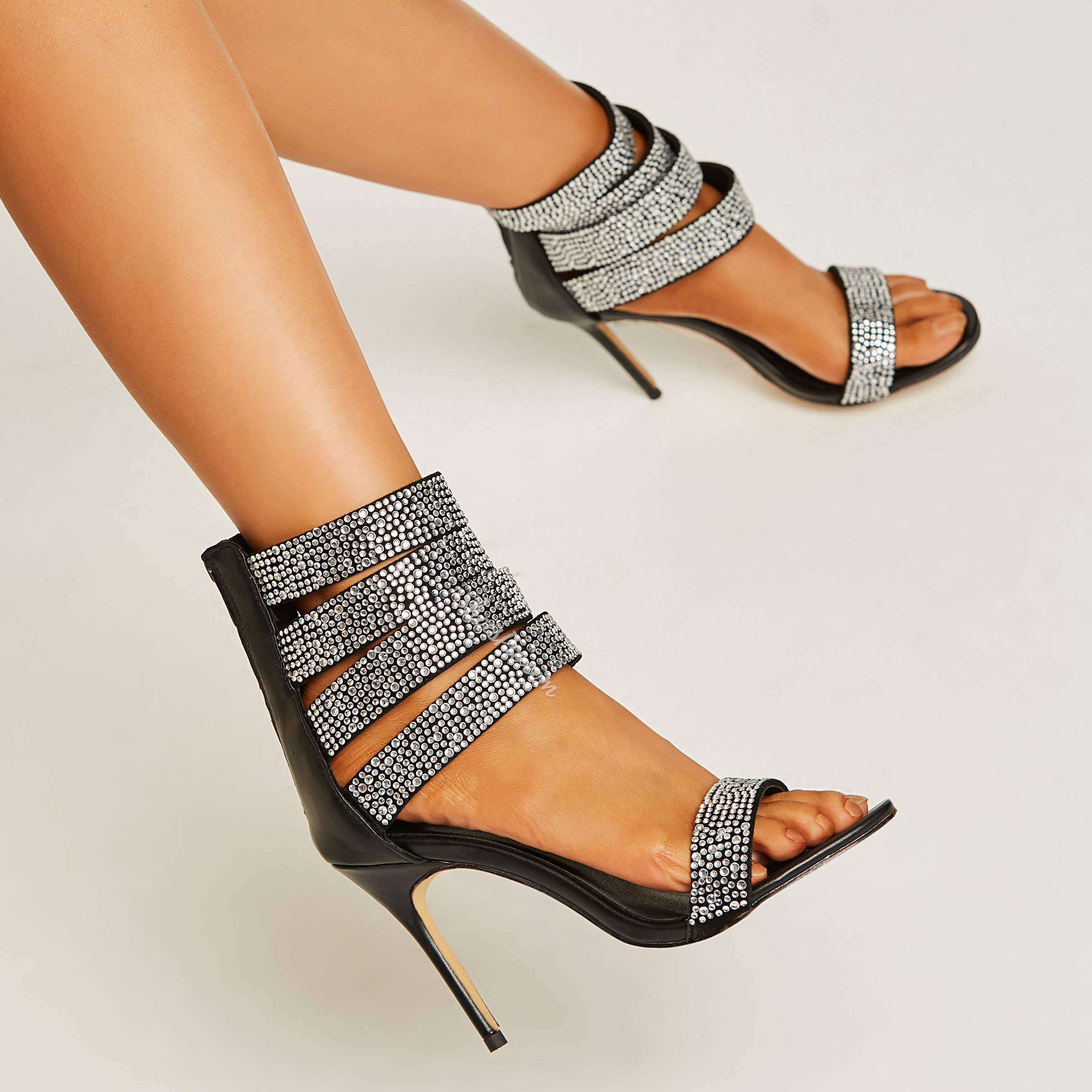 Shoespie Rhinestone Ankle Strap Dress Sandals