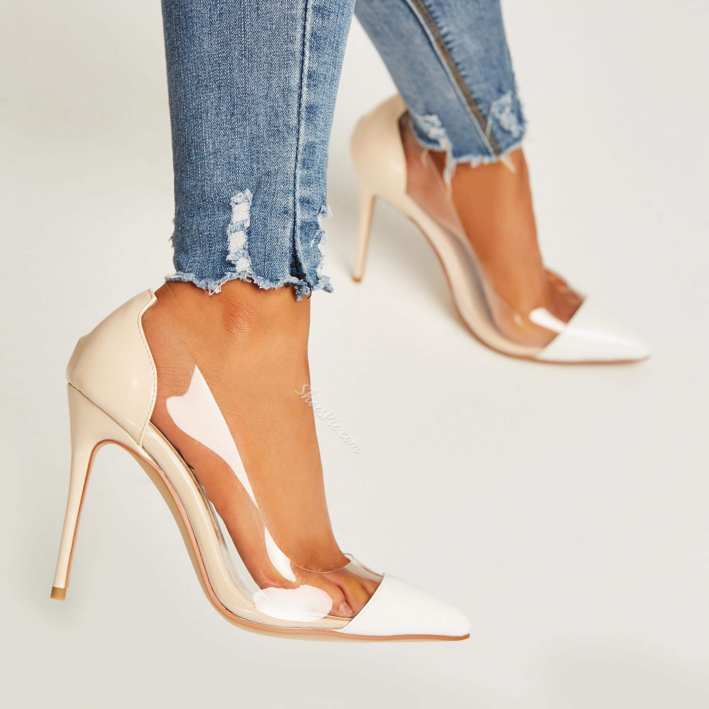 Shoespie Nude Pointed Toe Patchwork Jelly Sexy Stiletto Heels