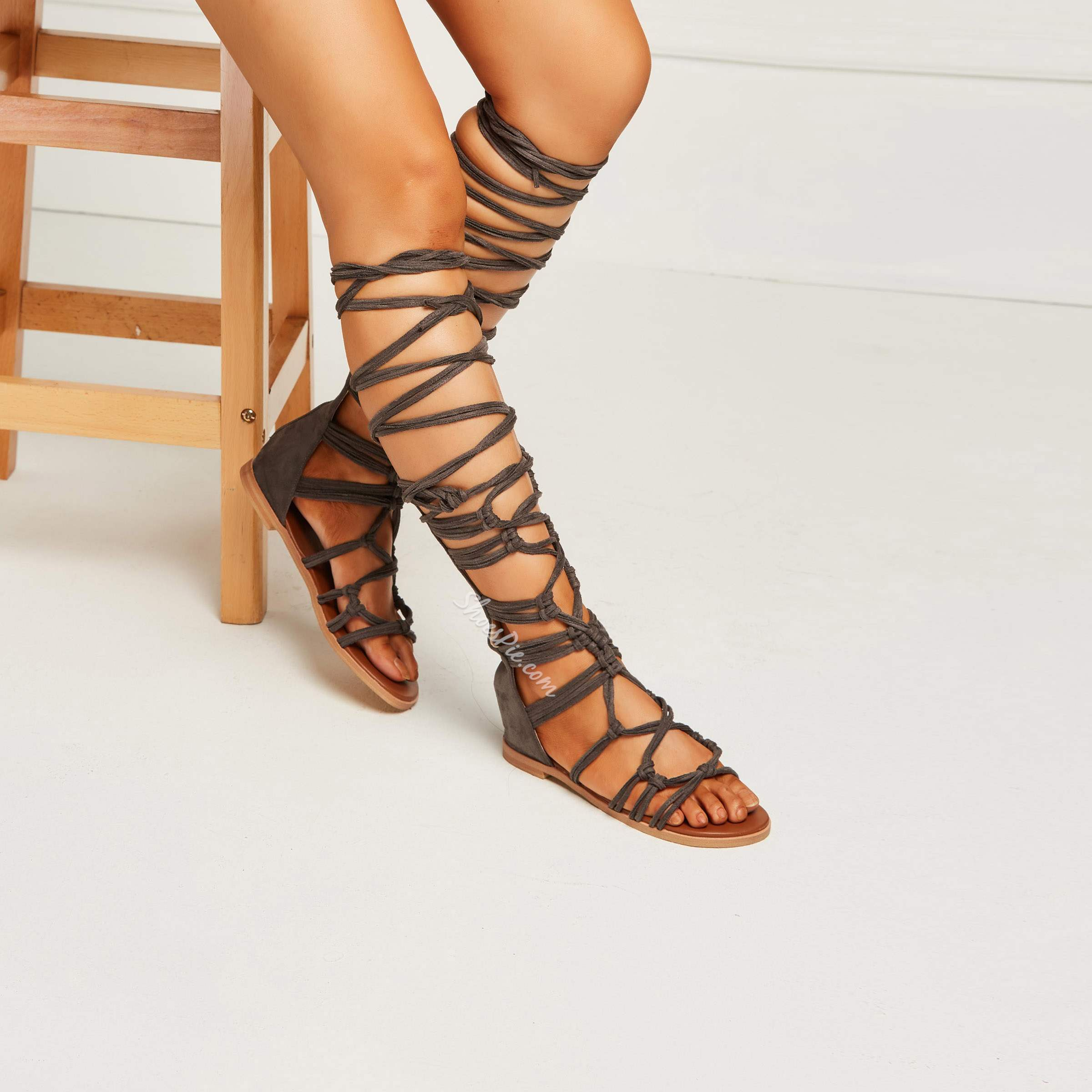 Shoespie High Shaft Lace-Up Flat Gladiatot Sandals