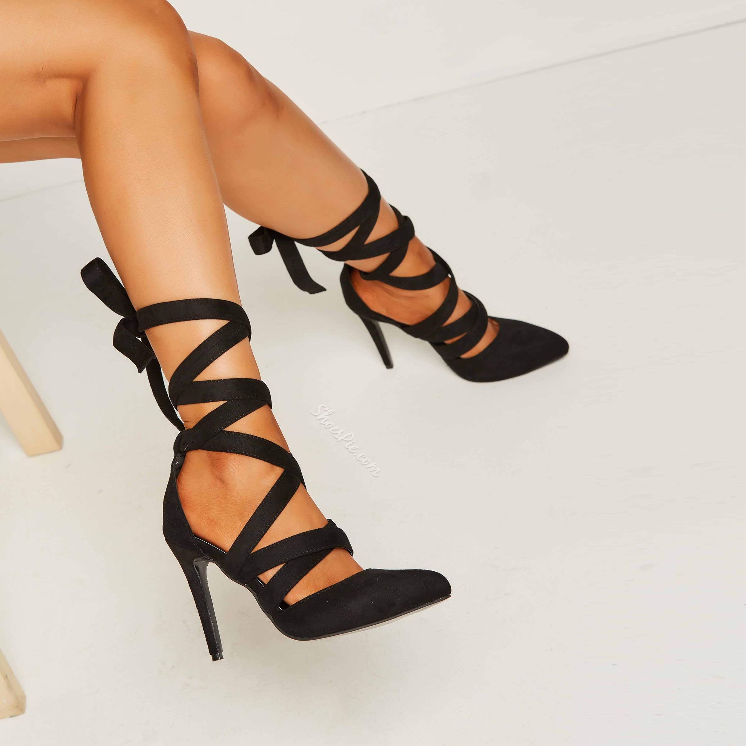ee62a1f87595 Shoespie Date Out Black Ribbon Lace Up Stiletto Heels- Shoespie.com