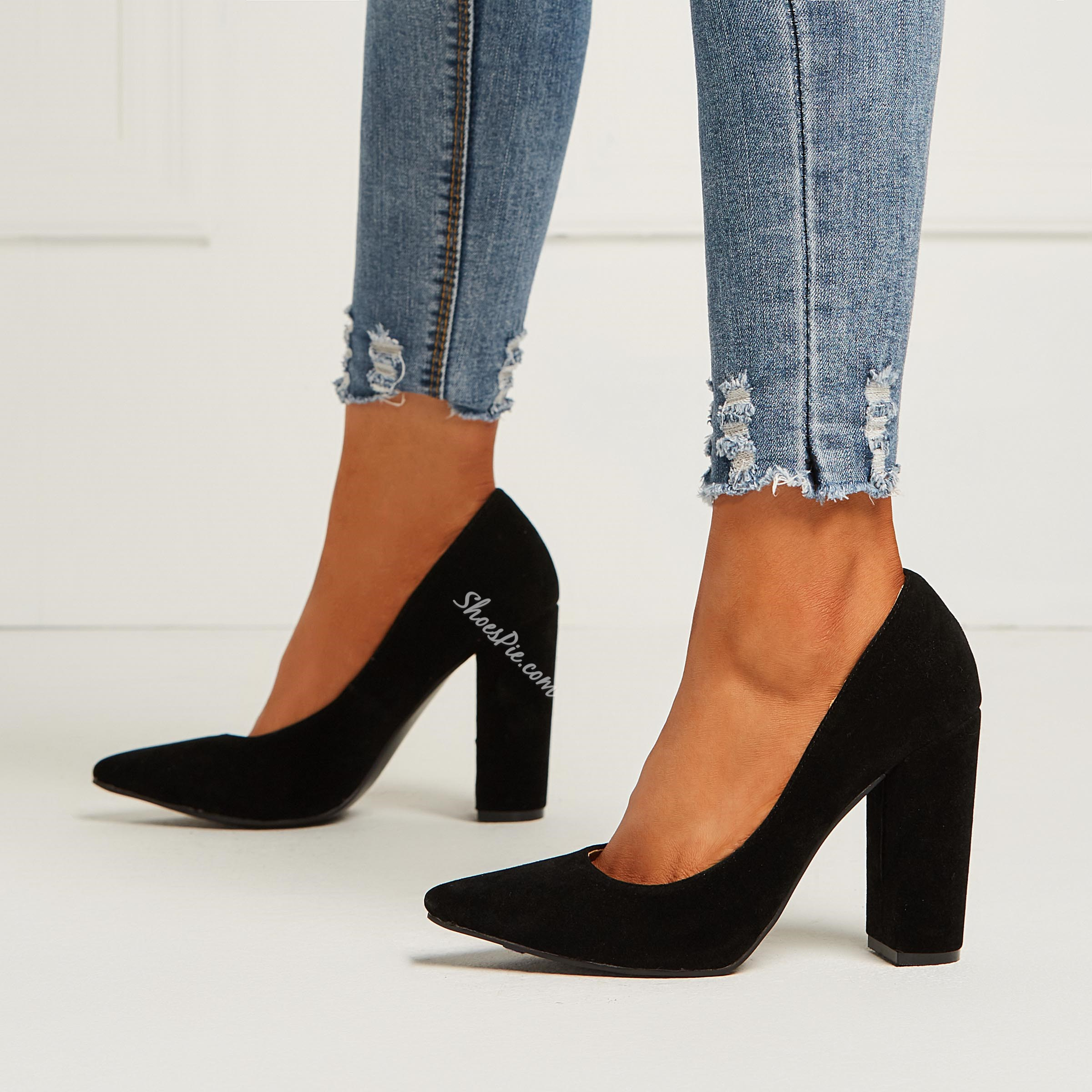 ae25a99a8d9 Shoespie Suede Solid Black Slip On Chunky Heel Pumps- Shoespie.com