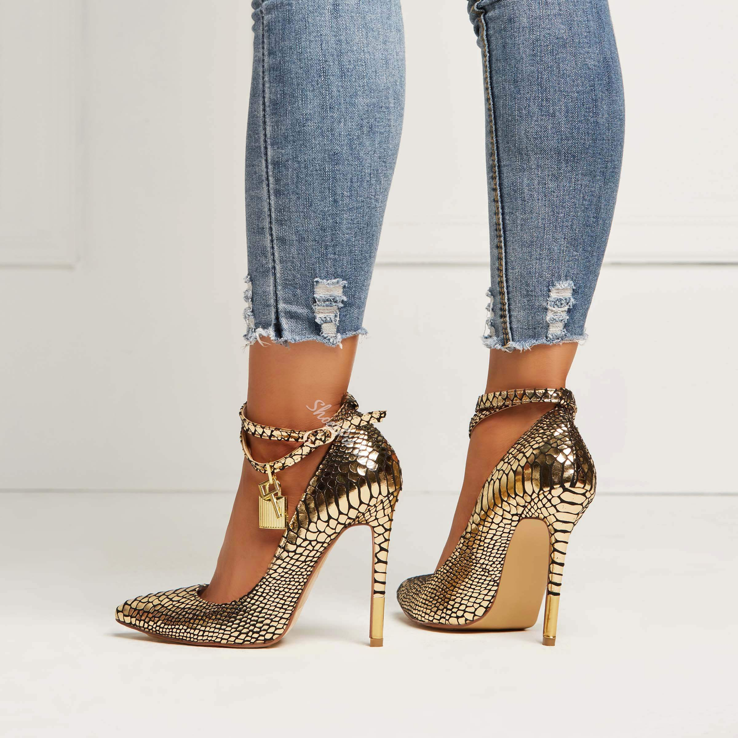 Shoespie Lock Metal Buckles Sexy Snake Pattern Stiletto Heels