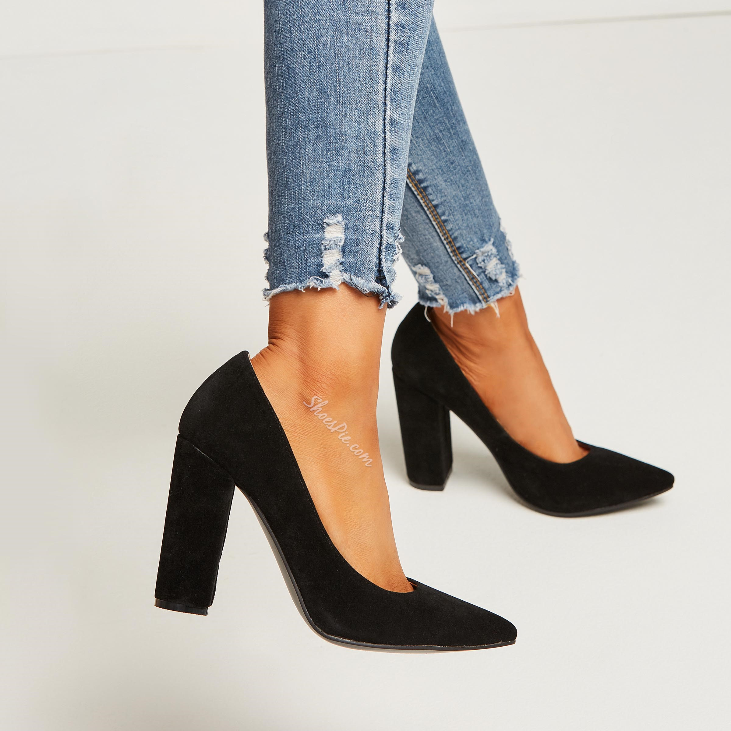 Shoespie Suede Solid Black Slip On Chunky Heel Pumps