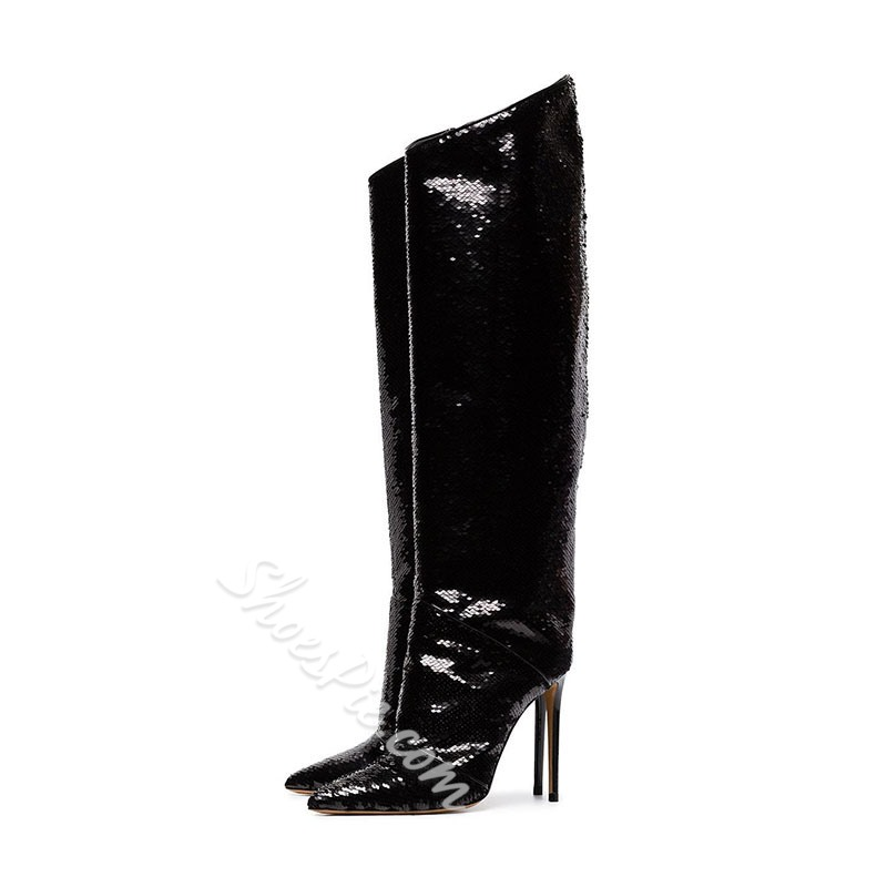 Shoespie Black Sequin Stiletto Knee High Boots