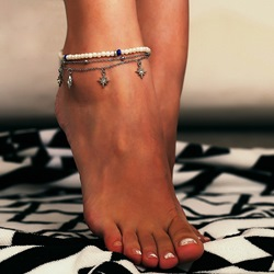 Star Pendant Multi-Layer Pearl Anklets