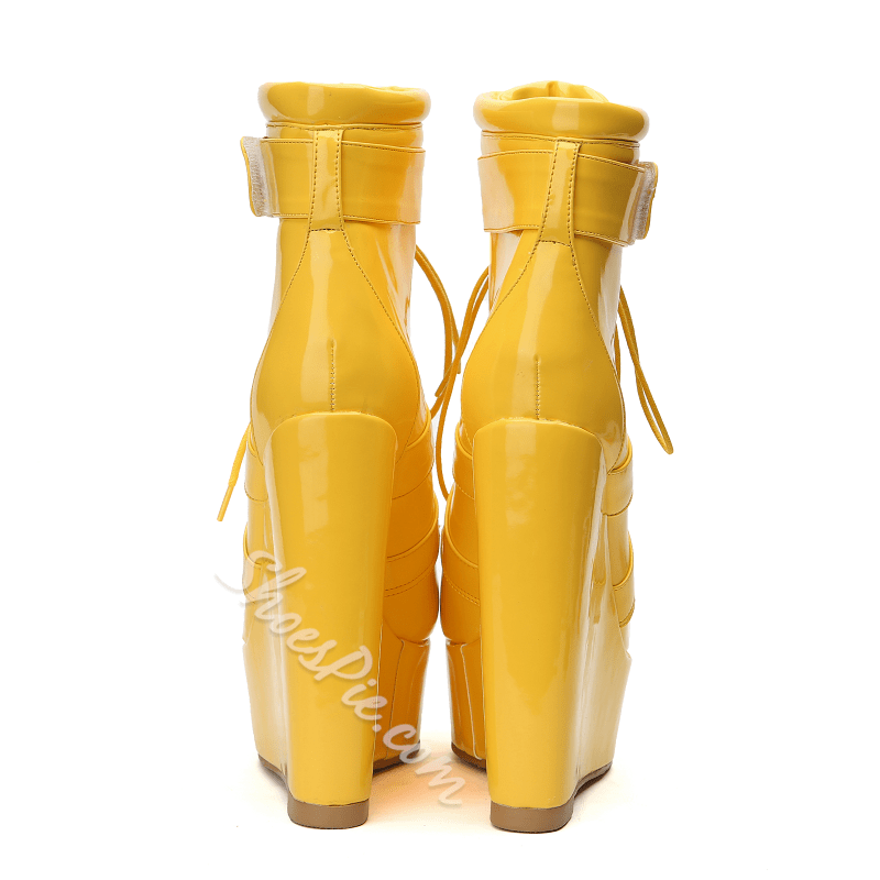 Yellow Lace-Up Fashion Wedge Heel Ankle Boots