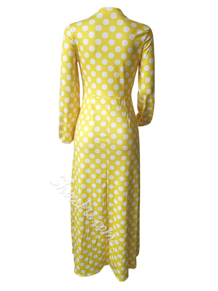 Shoespie Polka Dots Elegant Women's A-Line Dress