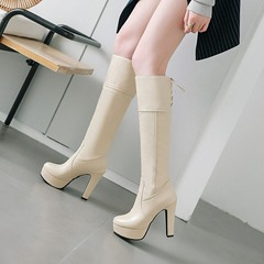 Shoespie Casual Platform Lace-Up Knee High Boots