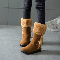 Shoespie Lace-Up Back Wedge Heel Snow Boots
