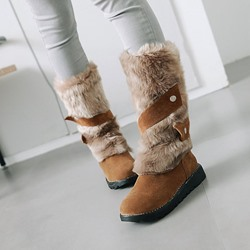 Shoespie Casual Slip-On Wedge Heel Snow Boots