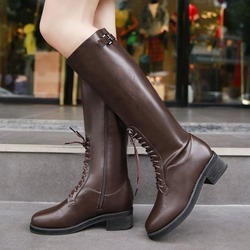 Shoespie Cross Strap Buckle Plain Knee High Boots