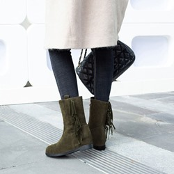 Shoespie Fringe Plain Suede Wedge Heel Ankle Boots