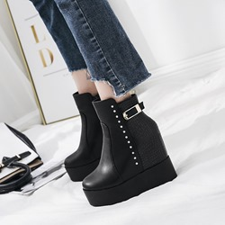 Shoespie Black Platform Buckle Hidden Elevator Heel Ankle Boots