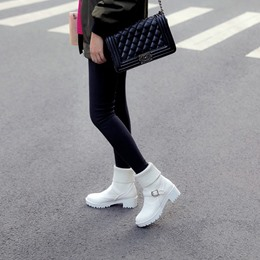Shoespie Casual Slip-On Buckle Ankle Boots