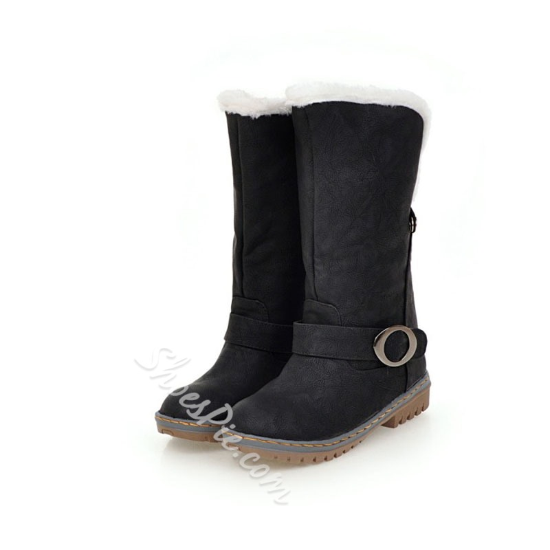 Shoespie Buckle Slip-On Snow Boots