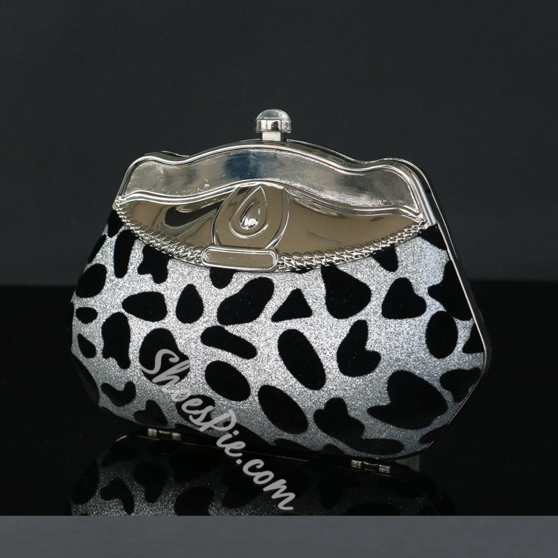 Shoespie Rhinestone Leopard Mini Clutch