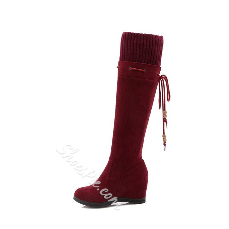 Shoespie Fashion Suede Lace-Up Back Hidden Heel Knee High Boots