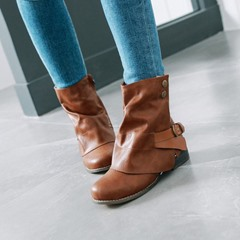 Shoespie Buckle Casual Side Zipper Ankle Boots