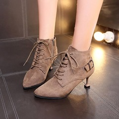 Shoespie Cross Strap Buckle Casual Ankle Boots