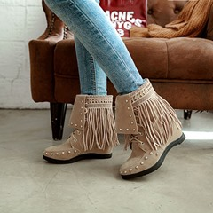 Shoespie Rivet Fringe Lace-Up Wedge Heel Ankle Boots
